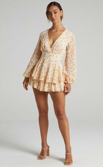 Monique Playsuit in Yellow Floral
