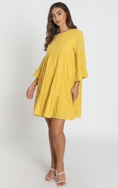 Rhea Textured Smock Dress in mustard - 14 (XL), Mustard, hi-res image number null