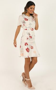 Elevated Ideas Dress In Cream Floral