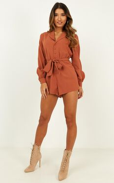 Leading Me Astray Playsuit in Rust