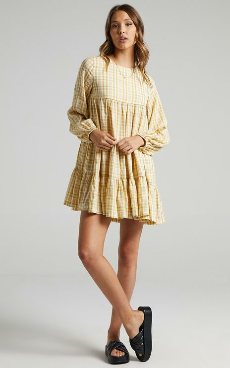 Ellora Dress in Mustard Check