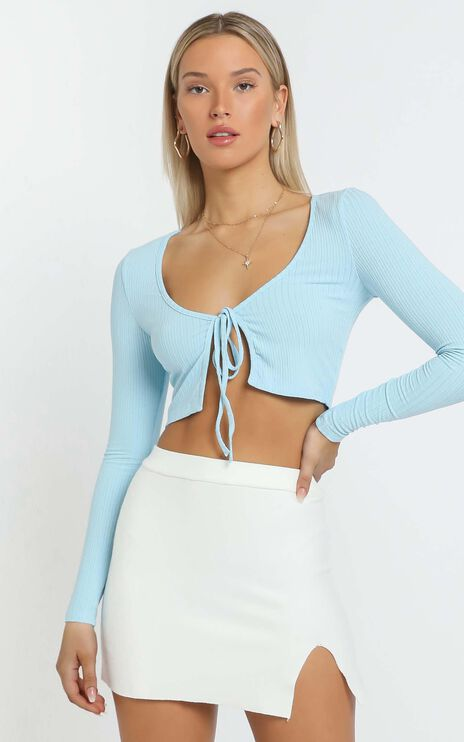 Serving Looks Tie Top in Blue
