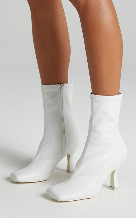 Public Desire - Violate Boots in White PU