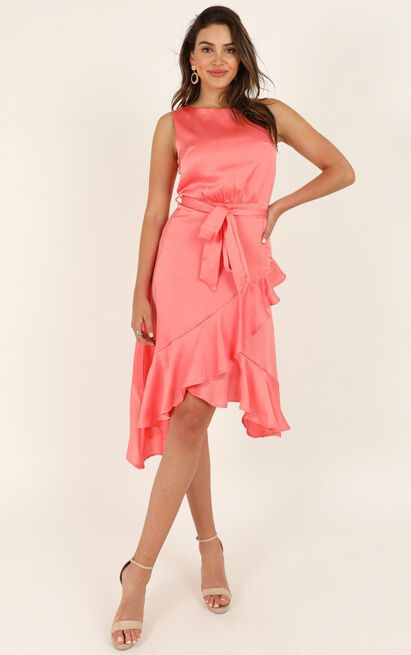 Dream Of Us dress in coral satin - 16 (XXL), Pink, hi-res image number null