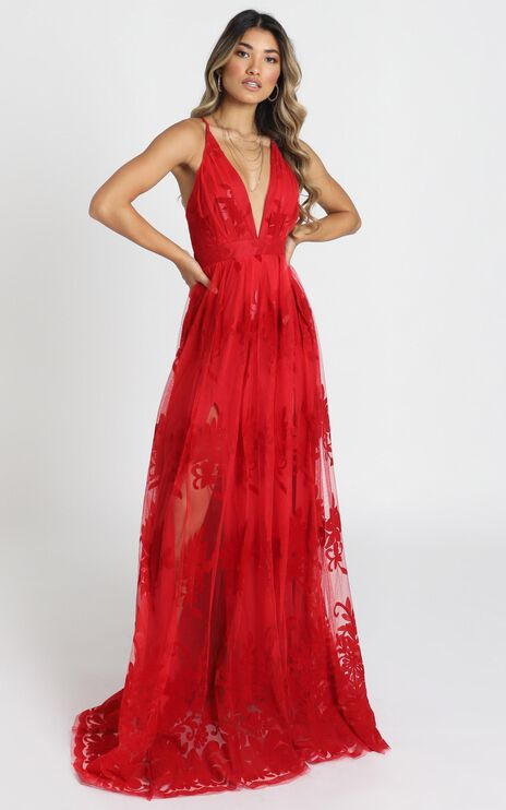 Promenade Maxi Dress In Red