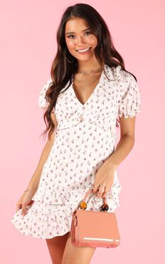 Strawberry Kisses Dress In White Floral
