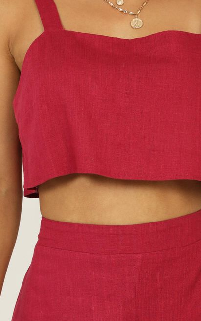 Save The Light two piece set in berry linen look - 18 (XXXL), Pink, hi-res image number null