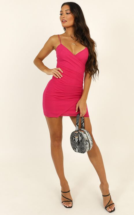 Do You Love Me Dress In Hot Pink Mesh