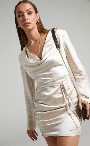 Shane Cowl Neck Long Sleeve Mini Dress in Champagne