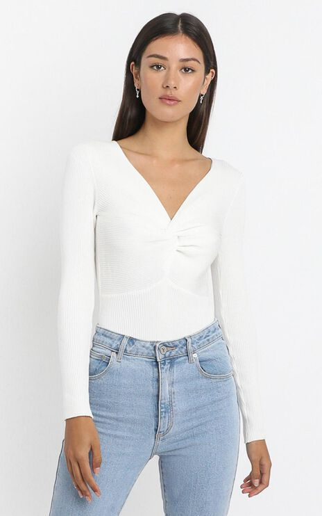 Isabella Twist Front Bodysuit in White