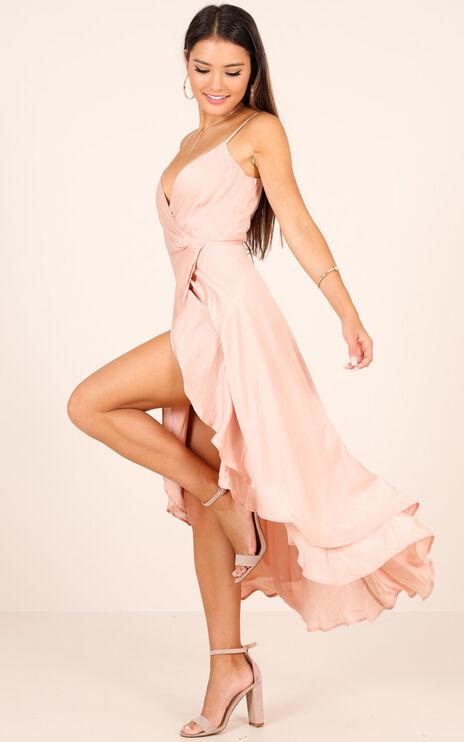 Bad Liar Dress in Blush Satin