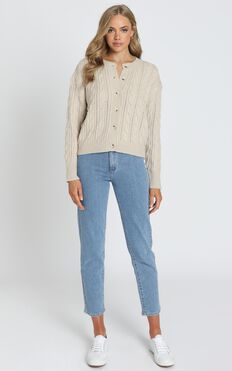 Eleina Cable Knit Cardigan in Beige Marl