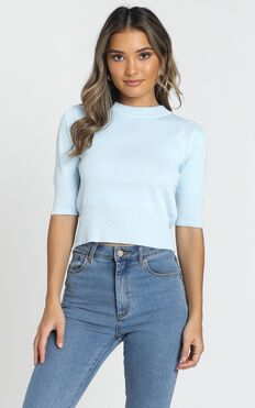 Rianne Knitted Top In Blue