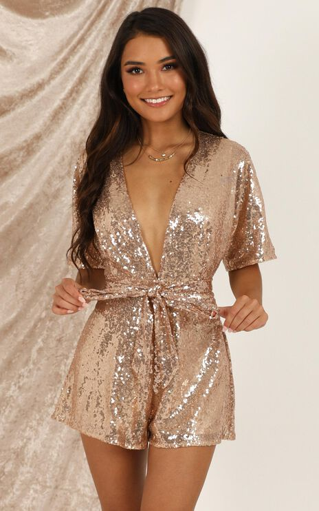 Star Behaviour Playsuit In Rose Gold Sequin