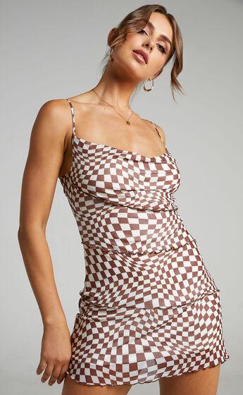 Tomiko Mesh Asymmetric Seams Mini Dress in Brown