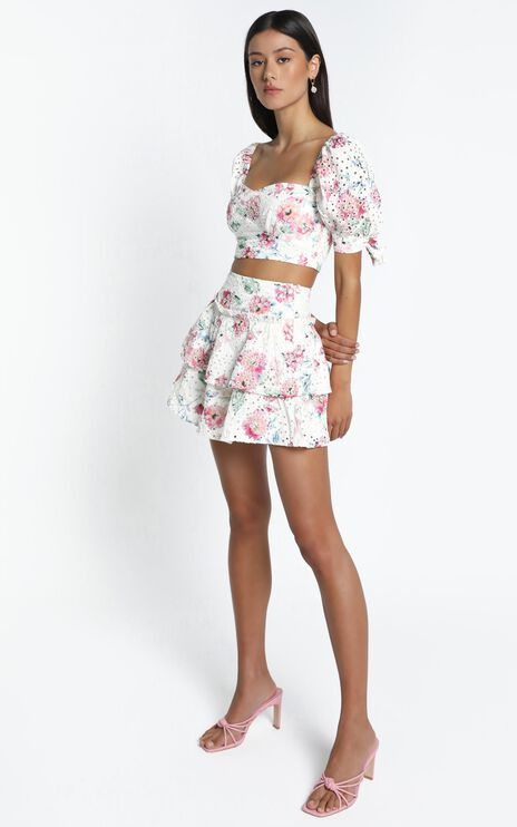 Kiah Skirt in White Floral