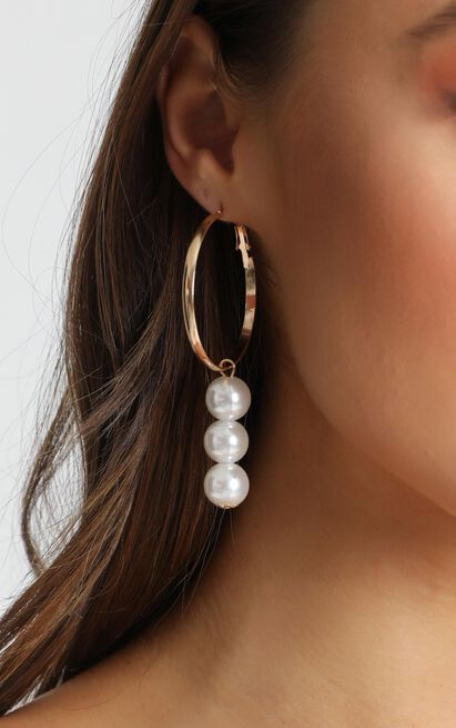 Voletta Pearl Drop Earrings In Gold, , hi-res image number null