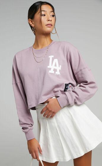 Majestic - LA Dodgers Cropped Rando LS Tee in Plum
