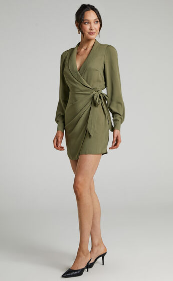 Immogen Mini Fixed Wrap Dress in Khaki