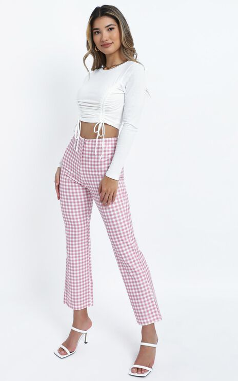 Calliopi Pants in Pink Check