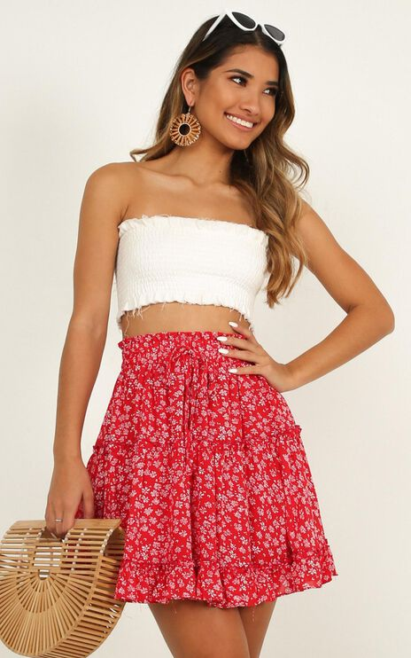 Hearts Exposed Skirt In Red Floral