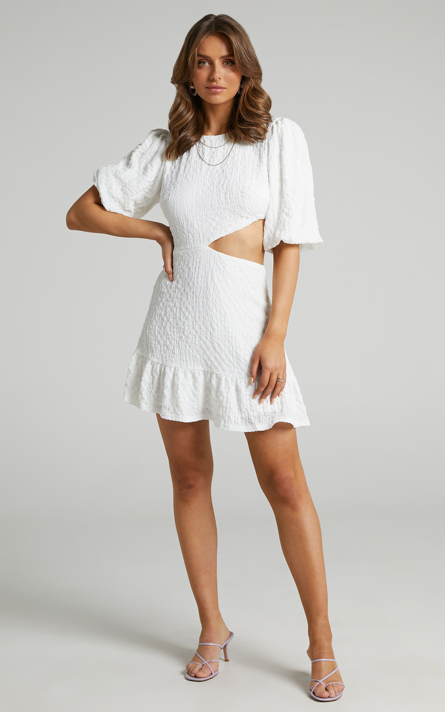 Binkie Puff Sleeve Cut out Mini Dress in White - 06, WHT1, super-hi-res image number null