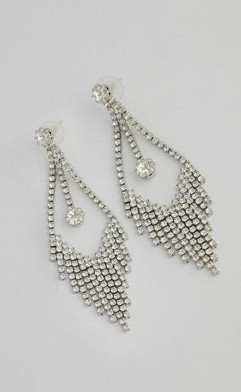 Ginny Drop Earrings in Silver Diamante