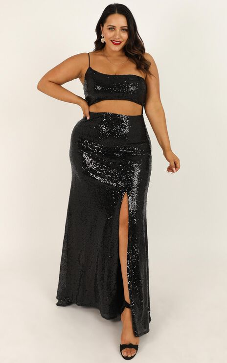 Losing Track Of Time Dress In Black Sequin