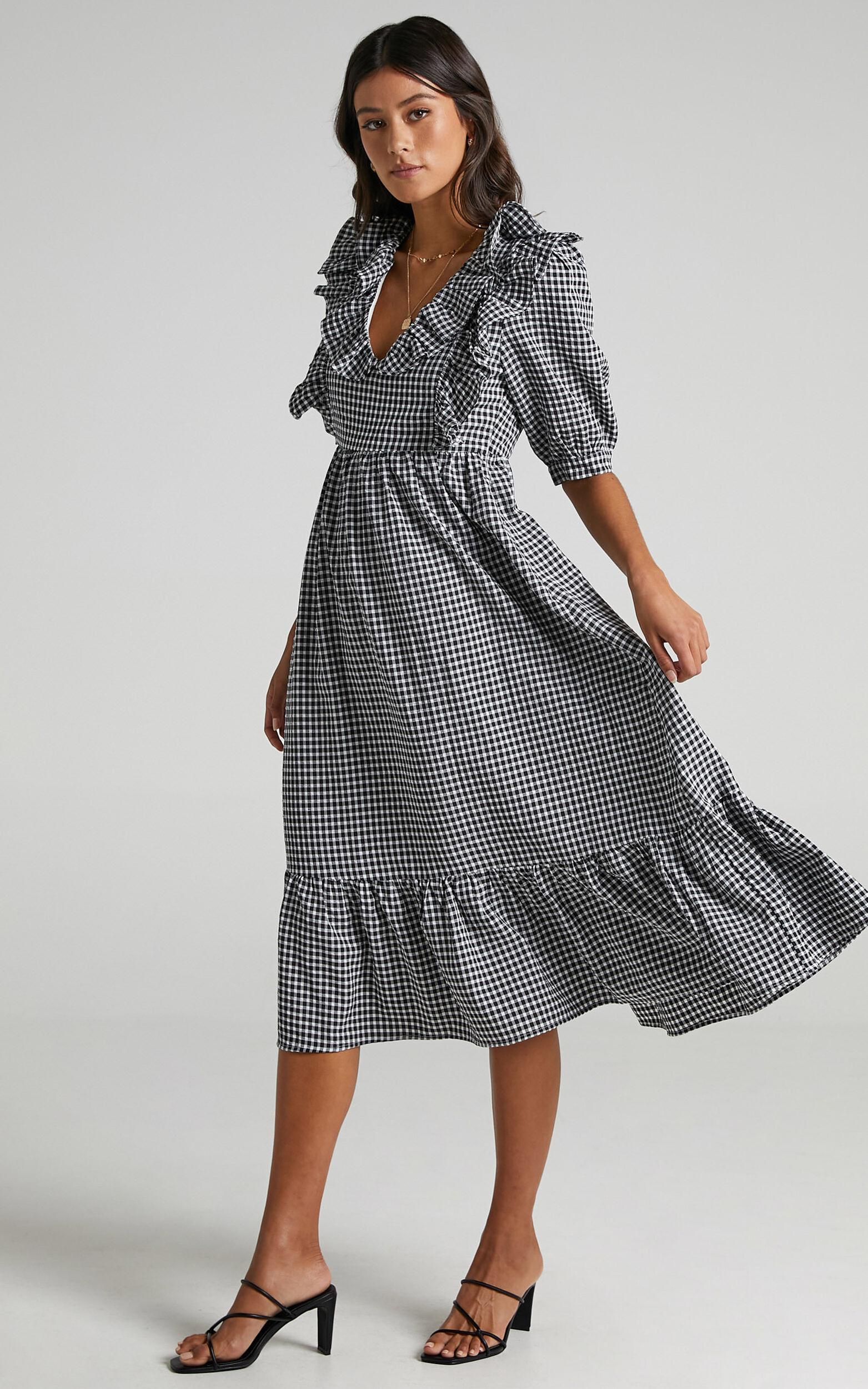 Shema Dress in Black Check - 06, BLK1, super-hi-res image number null