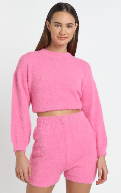 Loretta Fluffy Knit Two Piece Set in Hot Pink