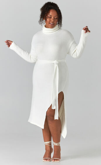 Marbella Turtle Neck Knit Dress in White