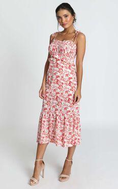 Merrill Shirred Midi Dress In Red Floral