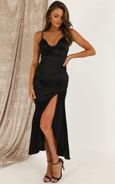 A Touch Of Your Love Dress In Black Satin