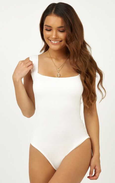 Off My Back Bodysuit In White