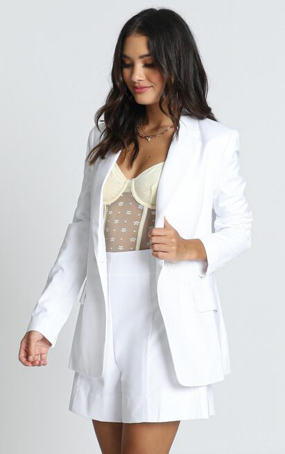 Hollywood Boulevard Button Up Blazer in white - 14 (XL), White, hi-res image number null