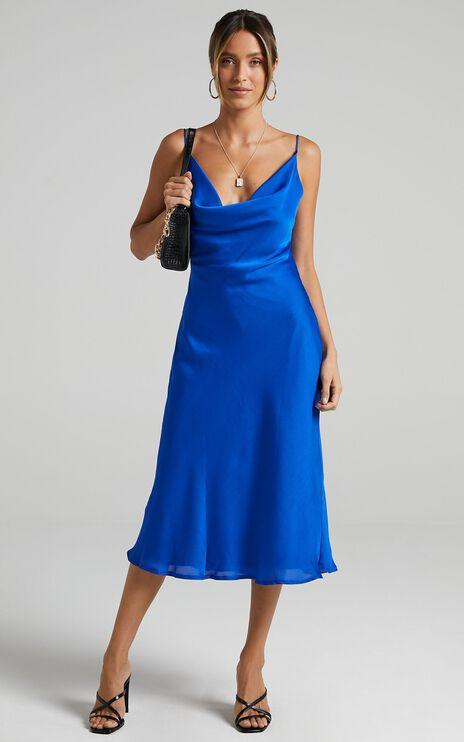 Malmuira Dress in Cobalt Satin