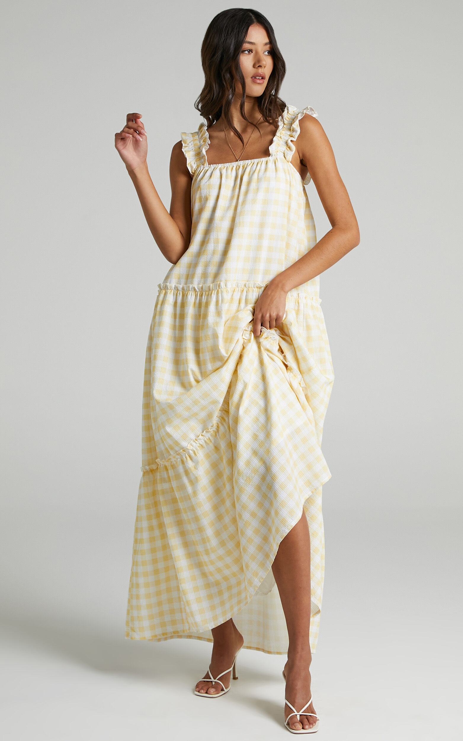 Charlie Holiday - Lottie Dress in Yellow Gingham - 06, YEL1, super-hi-res image number null