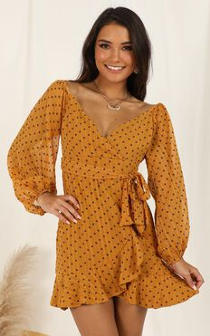 You Are Such A Dream Dress In Mustard Flocked Spot