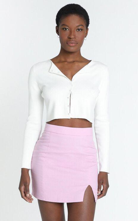 International Babe Skirt in Lilac Linen Look