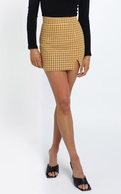 Tamara Skirt in Mustard Check