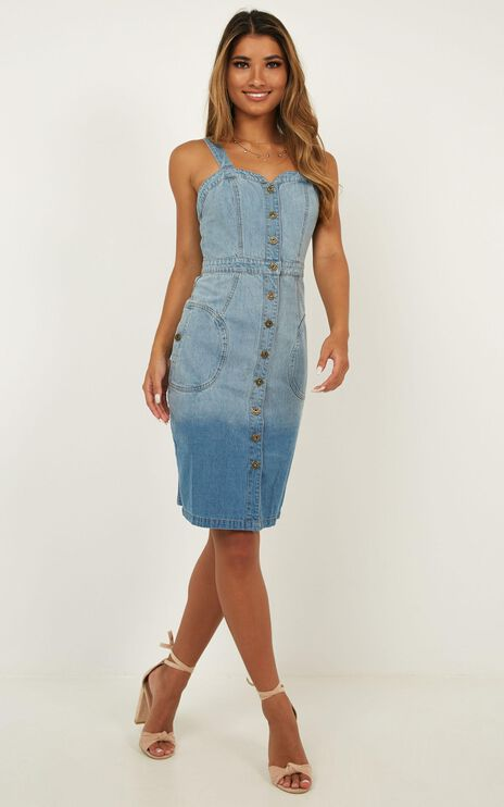 Good To Be Alive Denim Dress In Light Wash