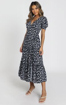 Emery Wrap Maxi Dress In Navy Floral