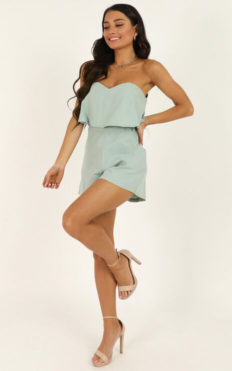 New Energy Playsuit In Sage Linen Look