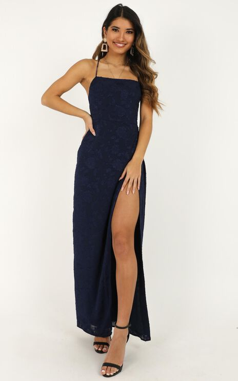 They Crisscrossed Maxi Dress In Navy Jacquard