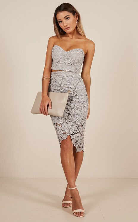 Daliah Two Piece Set In Dusty Blue Lace