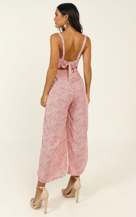 Life On The Road Jumpsuit In Red Floral
