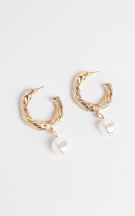 JT Luxe - Portofino Pearl Drop Earrings in Gold