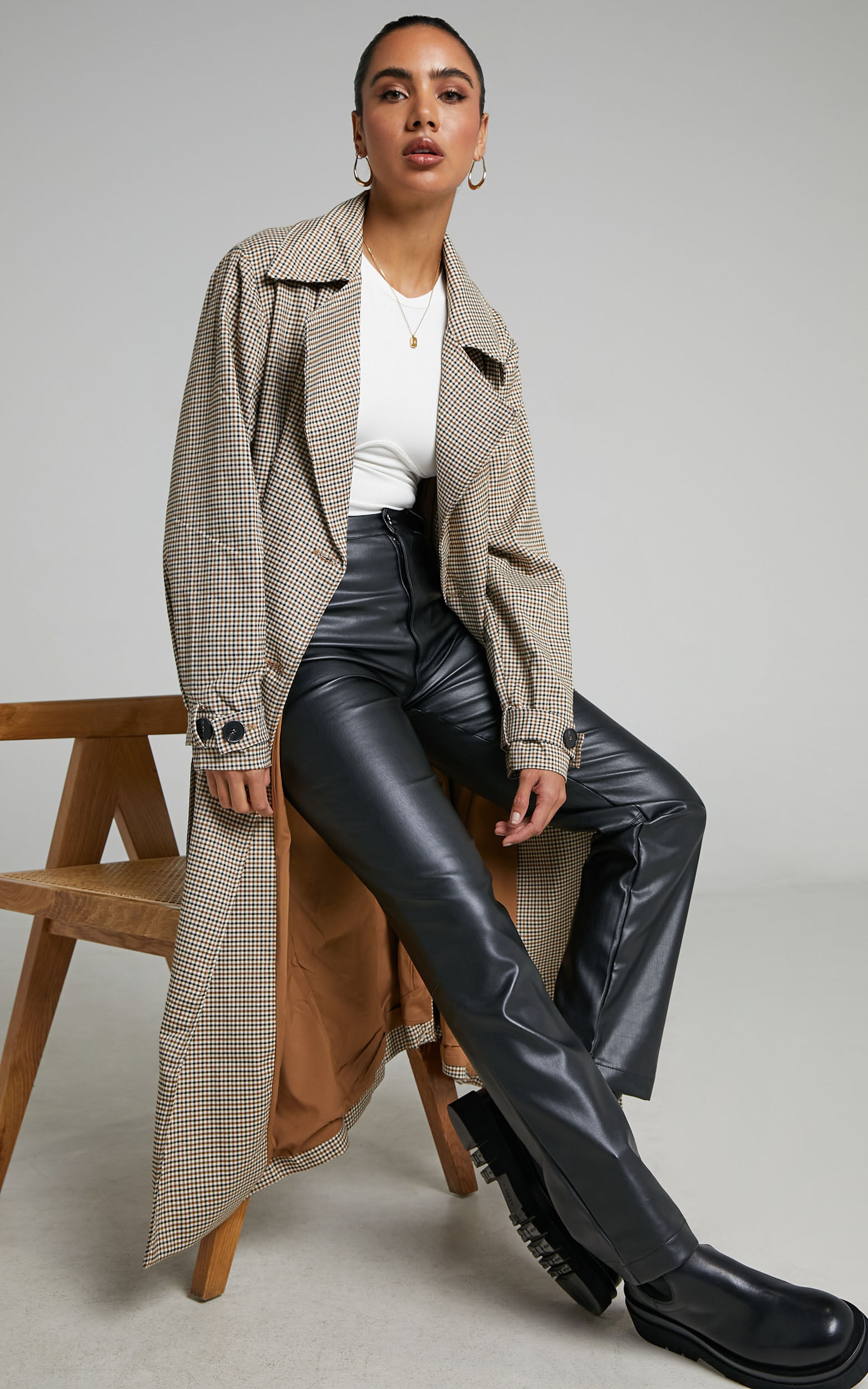 4th & Reckless - Chica Trench in Brown check - 06, BRN1, super-hi-res image number null