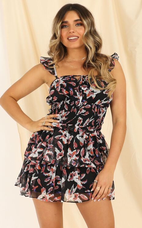 By The Water Dress In Black Floral