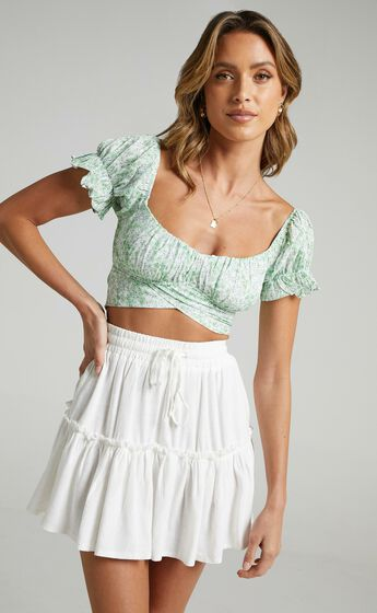 Ester Top in Green Floral